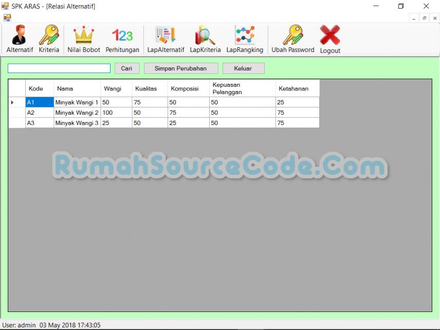 Source Code SPK Metode ARAS VB.Net