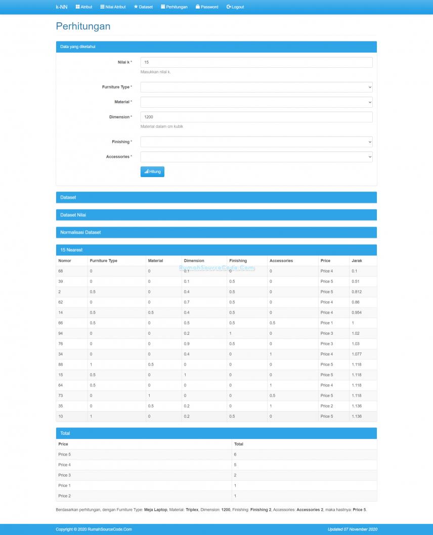 Source Code Klasifikasi Metode KNN PHP